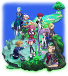 3girls 5boys arms_behind_back asbel_lhant black_legwear blonde_hair blue_eyes blue_hair bodysuit boots brooch brown_eyes cheria_barnes coat cravat flower glasses gloves heterochromia highres hubert_ozwell jewelry kirita_(noraring) malik_caesars multicolored_hair multiple_boys multiple_girls mushroom outdoors pascal pink_hair proposal puffy_sleeves purple_eyes purple_hair purple_skirt red_hair reimon richard_(tales) scarf shoes short_hair shorts sitting skirt smile sophie_(tales) tales_of_(series) tales_of_graces thighhighs tree twintails two-tone_hair white_hair wreath yellow_eyes