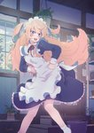1girl apron blonde_hair blue_eyes bucket hands_on_hips highres indoors kagawa_yuusaku long_hair maid maid_apron maid_headdress open_mouth original plant potted_plant solo two_side_up very_long_hair window