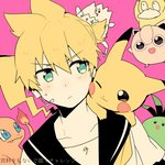 1boy :d :p ;3 bass_clef blonde_hair charmander cheek-to-cheek close-up crossover dutch_angle eyebrows_visible_through_hair face fire frown gen_1_pokemon gen_2_pokemon green_eyes headset jigglypuff kagamine_len looking_at_another male_focus musical_note open_mouth pikachu pink_background pokemon pokemon_(creature) psyduck sailor_collar shirt short_hair simple_background sinaooo smile tail teeth togepi tongue tongue_out translation_request upper_body vocaloid white_shirt