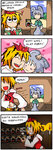 ! 2girls 4koma :d @_@ ^_^ animal_ears blush candle closed_eyes comic commentary crazy_eyes dvd_(object) fang finnish_text grey_hair heart heavy_breathing mouse_ears multicolored_hair multiple_girls nazrin open_mouth setz smile tiger toramaru_shou touhou translated two-tone_hair