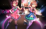 2girls ;d alternate_costume alternate_hair_ornament black_gloves blue_eyes blue_ribbon boots brown_hair commentary doki_doki_literature_club english_commentary fang fingerless_gloves gloves glowstick hair_ornament hair_ribbon hairclip hand_on_hip hand_on_own_chest highres holding_hands idol knee_boots multiple_girls natsuki_(doki_doki_literature_club) one_eye_closed open_mouth pink_eyes pink_hair pink_ribbon ribbon sayori_(doki_doki_literature_club) short_hair sleeveless smile thighhighs tsukimaru two_side_up white_legwear