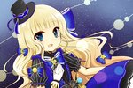 1girl :d bangs black_hat black_shirt blonde_hair blue_bow blue_eyes blue_skirt blunt_bangs blush bow center_frills character_request crescent eyebrows_visible_through_hair frills gloves hair_bow hand_on_own_chest hat long_hair looking_at_viewer mini_hat mini_top_hat open_mouth puffy_short_sleeves puffy_sleeves shironeko_project shirt short_sleeves skirt smile solo space star star_(sky) star_in_eye striped top_hat vertical_stripes very_long_hair white_gloves yukiyuki_441