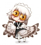 1girl bird blood bloodshot_eyes feathered_wings feathers from_behind futaba_channel harpy horror_(theme) lowres monster_girl nijiura_maids owl solo thighhighs wings yabai