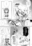 4girls absurdres alice_margatroid arms_up bangs bare_shoulders bikini blunt_bangs blush book breasts cleavage comic cowering doujinshi eyebrows_visible_through_hair fang fidgeting flying_sweatdrops frilled_bikini frills fumitsuki_(minaduki_6) greyscale hair_over_one_eye hand_on_hip hat hat_ribbon head_wings highres holding holding_book indoors juliet_sleeves koakuma large_breasts library long_sleeves mob_cap monochrome multiple_girls navel patchouli_knowledge polka_dot profile puffy_sleeves remilia_scarlet ribbon short_hair squatting stomach swimsuit tears touhou translated upper_body