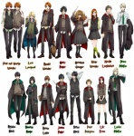 4girls 6+boys belt black_hair black_legwear blonde_hair blue_eyes blush book broom brown_eyes brown_hair buttons candy draco_malfoy earrings everyone food fred_weasley george_weasley ginny_weasley glasses green_eyes green_legwear hair_ribbon hands_in_pockets harry_james_potter harry_potter hermione_granger highres james_potter jewelry lily_evans loafers long_hair luna_lovegood mary_janes multiple_boys multiple_girls nakagawa_waka necklace necktie neville_longbottom open_mouth orange_hair pants pantyhose peter_pettigrew photoshop ponytail red_eyes red_hair regulus_arcturus_black remus_john_lupin ribbon robe ron_weasley scar school_uniform severus_snape shoes short_hair sirius_black skirt smile smirk sweatdrop sweater sweater_vest wand younger