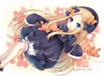 1girl :d abigail_williams_(fate/grand_order) bangs black_bow black_dress black_footwear black_hat blonde_hair bloomers blue_eyes blush bow brown_background bug butterfly commentary_request dress eyebrows_visible_through_hair fate/grand_order fate_(series) feet_out_of_frame forehead gradient gradient_background hair_bow hat insect long_hair long_sleeves looking_at_viewer lying on_back open_mouth orange_bow parted_bangs polka_dot polka_dot_bow shoes sleeves_past_fingers sleeves_past_wrists smile solo stuffed_animal stuffed_toy teddy_bear twitter_username underwear very_long_hair white_bloomers yukiyuki_441