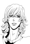 1boy barnaby_brooks_jr glasses greyscale higashiyama_kazuko lineart lowres male_focus monochrome solo tiger_&_bunny translation_request