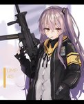 1girl armband bangs black_ribbon character_name clothes_writing crossed_bangs eyebrows_visible_through_hair fingerless_gloves girls_frontline gloves grey_hair gun h&k_ump h&k_ump45 hair_between_eyes hair_ornament hand_in_pocket heckler_&_koch holding holding_gun holding_weapon hood hood_down hooded_jacket jacket letterboxed long_hair looking_at_viewer mouth_hold neck_ribbon one_side_up open_clothes open_jacket ribbon scar scar_across_eye scarf shirt sidelocks skirt solo submachine_gun sugar_(sugar17) trigger_discipline ump45_(girls_frontline) untucked_shirt weapon white_shirt yellow_eyes