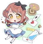 1girl :d ace_of_diamonds ace_of_hearts ace_of_spades alice_(wonderland) alice_(wonderland)_(cosplay) alice_in_wonderland apron bangs black_bow blue_dress blush bow braid brown_hair card chibi cookie cork cosplay cup dress drink_me eat_me flask food food_writing hair_bow holding holding_cookie holding_cup holding_food izumi_kirifu looking_at_viewer love_live! love_live!_school_idol_festival_all_stars open_mouth orange_eyes perfect_dream_project playing_card short_sleeves side_bun smile solo teacup uehara_ayumu white_apron white_legwear