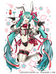 1girl alternate_costume animal_ears aqua_eyes aqua_hair bow breasts bunny_ears buzz cocktail_glass cup detached_sleeves drinking_glass gloves hair_ribbon hatsune_miku heart long_hair magician_wiz_(game) medium_breasts navel open_mouth panties ribbon solo star tattoo twintails underwear very_long_hair vocaloid white_background