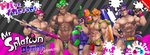 4boys 8_(yamalu) abs bara bare_arms bare_shoulders bulge camouflage chest closed_mouth collarbone commentary copyright_name cowboy_shot dark_skin dark_skinned_male domino_mask fang goggles goggles_on_head green_eyes green_hair grin groin hairband hand_on_hip hand_up headphones height_difference highres holding holding_weapon ink_tank_(splatoon) inkling jockstrap logo_parody looking_at_viewer male_focus male_swimwear male_underwear manly mask multiple_boys muscle navel nipples octarian octoling older orange_eyes orange_hair over_shoulder paint_roller pectorals pink_eyes pink_hair pointy_ears purple_eyes purple_hair shirtless short_hair smile splat_bomb_(splatoon) splat_charger_(splatoon) splatoon_(series) splatoon_2 splattershot_(splatoon) standing stomach suction_cups super_soaker swim_briefs swimwear tentacle_hair underwear v-shaped_eyebrows visor_cap weapon wristband