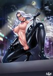 1girl aircraft areolae artist_name black_cat_(marvel) blue_eyes bodysuit breasts city_lights domino_mask exlic felicia_hardy fur_trim futanari helicopter high_heels highres jewelry kneeling large_breasts lipstick long_hair makeup marvel mask navel necklace night nipples outdoors penis skin_tight solo spider-man_(series) testicles white_hair