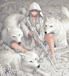 1girl ankle_boots bandaid bone boots commentary_request gun highres hood hood_up hooded_jacket jacket looking_at_viewer minami_(minami373916) original rifle scope sitting sniper_rifle star star_print trigger_discipline weapon white_eyes white_footwear white_hair white_jacket white_theme white_wolf wolf