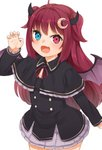 1girl :d ahoge black_capelet black_dress blue_eyes capelet claw_pose commentary_request cowboy_shot crescent crescent_hair_ornament curled_horns demon_girl demon_horns demon_wings dress fang fingernails frilled_capelet frilled_dress frills hair_ornament hand_up heterochromia highres horns long_hair long_sleeves looking_at_viewer nijisanji nishiuri open_mouth purple_wings red_eyes red_hair simple_background smile solo standing two_side_up very_long_hair virtual_youtuber white_background wings yuzuki_roa