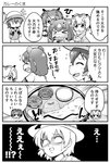 !!? 4girls 4koma >_< animal_ears backpack bag bangs bear_ears blank_eyes brown_bear_(kemono_friends) chibi closed_eyes coat comic commentary_request curry emphasis_lines eurasian_eagle_owl_(kemono_friends) extra_ears eyebrows_visible_through_hair flying_sweatdrops food fur_collar gloom_(expression) greyscale hair_between_eyes hat_feather helmet highres kaban_(kemono_friends) kemono_friends long_sleeves looking_at_another medium_hair monochrome multiple_girls northern_white-faced_owl_(kemono_friends) o_o pith_helmet pointing shirt short_hair short_sleeves sidelocks sparkle tearing_up translation_request turn_pale wavy_mouth yamaguchi_sapuri