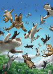 blue_sky cat cat_focus cloud commentary_request dated day falling forest matataku nature no_humans original outdoors signature sky surprised_cat_(matataku) too_many too_many_cats tree