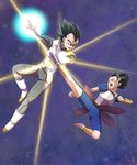 2boys armor black_eyes black_hair boots cabba dragon_ball dragon_ball_super fighting full_body fuoore_(fore0042) gloves glowing highres kicking male_focus multiple_boys open_mouth spiked_hair vambraces vegeta white_boots white_gloves