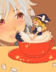 2girls bad_id bad_pixiv_id blonde_hair chibi cup dress face hat in_container in_cup izayoi_sakuya kirisame_marisa minigirl multiple_girls ribbon ryvlab touhou witch_hat