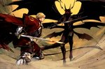 2boys armor blonde_hair blood blood_on_face cape commentary_request demon_horns demon_wings fighting_stance gargouille gauntlets gloves holding holding_sword holding_weapon horns laurel_knight_sylvester male_focus multiple_boys outdoors pixiv_fantasia pixiv_fantasia_last_saga red_cape red_eyes sankyou standing sword tail third_eye weapon wings yellow_sky