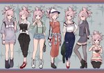 1girl 6+girls :d :o :q ^_^ absurdres arm_behind_back arms_behind_back asymmetrical_hair bag bangs barefoot baseball_cap black_bow black_bra black_footwear black_pants black_ribbon black_scrunchie blue_eyes blue_pants blue_ribbon blue_shorts boots bow bowl bra bra_peek bracelet breasts brown_dress brown_footwear chopsticks cleavage closed_eyes clothes_around_waist collarbone collared_shirt commentary_request contemporary cross cross_necklace dango denim denim_shorts dress dress_shirt earrings eating eyebrows_visible_through_hair fate/grand_order fate_(series) food from_side full_body green_jacket green_sweater grey_dress grey_legwear grey_sweater hair_between_eyes hair_bow hair_ornament hair_ribbon hair_scrunchie hand_on_hip handbag hane_yuki hat head_tilt highres holding holding_bag holding_bowl holding_chopsticks holding_food holding_jacket hood hood_down hooded_sweater jacket jewelry kneeling long_dress long_hair long_sleeves looking_at_viewer medium_breasts midriff miyamoto_musashi_(fate/grand_order) multiple_girls multiple_persona nail_polish necklace open_mouth pants pants_under_dress pink_hair print_shirt profile pump red_footwear red_nails red_scrunchie ribbon scrunchie shiny shiny_hair shirt short_dress short_shorts short_sleeves shorts side_slit silver_hair simple_background smile solo standing stomach striped striped_dress striped_legwear striped_shirt suspender_shorts suspenders sweater sweater_around_waist sweater_dress swept_bangs thighhighs tied_hair tongue tongue_out torn_clothes torn_pants underwear vertical-striped_dress vertical-striped_legwear vertical-striped_shirt vertical_stripes wagashi watch white_background white_footwear white_legwear white_shirt wing_collar wristwatch zettai_ryouiki