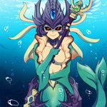 1girl black_sclera breasts bubble center_opening kuroinu0067 league_of_legends looking_at_viewer mermaid monster_girl nami_(league_of_legends) red_eyes smile solo staff underwater