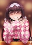 1girl bangs blurry brown_background brown_eyes brown_hair checkered cup depth_of_field drinking_glass elbow_rest fate/grand_order fate_(series) fingernails glasses grin hairband hands_up highres long_hair long_sleeves looking_at_viewer osakabe-hime_(fate/grand_order) own_hands_together pov_across_table puyo sleeves_past_wrists smile solo sweater teeth unmoving_pattern upper_body