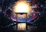 aerial_fireworks crack fireworks forest highres light light_particles nameless_neet nature night night_sky no_humans original outdoors plant reflection rock scenery sky stone_wall tile_floor tiles torii tree wall