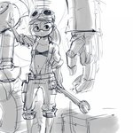 1girl baggy_shorts belt bra engineer expressionless glasses goggles hat mecha monochrome navel nyanko_daisensou open_clothes ponytail robot saionji_mekako shorts sketch solo stup-jam underwear wrench