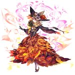 1girl black_gloves black_hat black_shoes delphox dress fire flame flower full_body gloves hat hat_flower highres one_eye_covered personification pokemon red_dress red_eyes shoes smile solo stick suana white_legwear