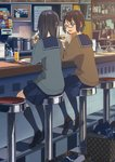 2girls basket black_hair blue_skirt brown_eyes brown_footwear brown_hair cardigan coffee coffee_maker_(object) coffee_pot cup diner drinking_glass drinking_straw food from_behind glasses highres holding holding_food indoors kusakabe_(kusakabeworks) loafers long_hair looking_at_another multiple_girls napkin napkin_holder open_mouth original pepper_shaker photo_(object) plate sailor_collar salt_shaker shoes short_hair skirt stool translation_request whiteboard