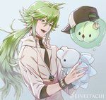 1boy absurdres bangs baseball_cap blue_background blush commentary eeveetachi gen_5_pokemon gen_8_pokemon green_eyes green_hair hair_between_eyes hat hat_removed headwear_removed highres holding holding_pokemon huge_filesize jacket jewelry long_hair male_focus n_(pokemon) necklace open_mouth pokemon pokemon_(creature) pokemon_(game) pokemon_bw shirt simple_background snom solosis turtleneck twitter_username