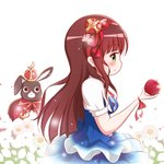 1girl animal anko_(gochiusa) apple blue_dress blush bow breasts brown_hair bunny cape closed_mouth clothed_animal commentary_request crescent crown dress flower food fruit gochuumon_wa_usagi_desu_ka? goth_risuto green_eyes hair_bow hairband holding holding_food holding_fruit long_hair medium_breasts mini_crown profile puffy_short_sleeves puffy_sleeves red_apple red_bow red_cape red_hairband saber_(weapon) short_sleeves smile sword ujimatsu_chiya very_long_hair weapon white_background white_flower