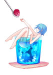 1girl bare_legs barefoot blue_eyes blue_hair cup food fruit hair_ornament hairclip ice_cube in_container in_cup mahou_shoujo_madoka_magica miki_sayaka minigirl momoko_(palemon) nude raspberry short_hair simple_background smile solo spoon white_background