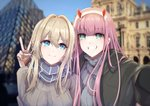 2girls absurdres arm_around_neck bangs black_coat blonde_hair blue_eyes blue_sky blurry blurry_background braid breasts brown_sweater changpan_hutao coat crossover darling_in_the_franxx fang green_eyes grey_sweater grin hair_between_eyes highres long_hair medium_breasts multiple_girls open_clothes open_coat outdoors outstretched_arm pink_hair pun reaching_out red_horns scarf season_connection self_shot sky smile striped striped_scarf sweater v violet_evergarden violet_evergarden_(character) zero_two_(darling_in_the_franxx)
