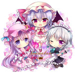 3girls :d ;) ascot bat_wings braid chibi hair_ribbon hat ichiyou_moka izayoi_sakuya long_hair lowres maid mob_cap multiple_girls one_eye_closed open_mouth patchouli_knowledge purple_hair red_eyes remilia_scarlet ribbon scarlet_devil_mansion short_hair silver_hair smile touhou twin_braids wings wrist_cuffs