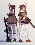 2girls antenna_hair battle_rifle black_bikini_top breasts brown_footwear brown_hair closed_mouth collarbone commentary_request dual_persona eyebrows_visible_through_hair girls_frontline gun highres holding holding_gun holding_weapon large_breasts loafers long_hair long_sleeves looking_at_viewer m14 m14_(girls_frontline) multiple_girls off_shoulder parted_lips pleated_skirt rifle shoes skirt sneakers standing teeth thighhighs twintails warashi weapon white_legwear yellow_eyes