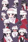 6+girls :d barrette beanie blush closed_mouth coat coat_dress dress embarrassed expressions happy hat highres hikari_(pokemon) long_hair looking_at_viewer looking_away minapo multiple_girls multiple_views open_mouth pokemon pokemon_(game) pokemon_dppt pokemon_platinum profile purple_background sad scarf sidelocks smile sweatdrop tears white_scarf winter_clothes