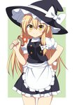 1girl apron black_dress black_hat blonde_hair border bow breasts commentary cowboy_shot dress enushi_(toho193) eyebrows_visible_through_hair food frilled_apron frills green_background hair_between_eyes hand_on_hip hand_up hat hat_bow highres holding holding_food holding_mushroom kirisame_marisa long_hair looking_at_viewer mushroom outside_border petticoat puffy_short_sleeves puffy_sleeves short_sleeves simple_background small_breasts smile solo standing thighs touhou very_long_hair waist_apron white_apron white_border white_bow witch_hat yellow_eyes