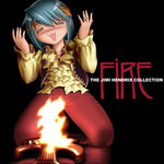 1girl album_cover black_background blue_hair blush cover electric_guitar english fire fire:_the_jimi_hendrix_collection guitar headband instrument jewelry jimi_hendrix kneeling mahou_shoujo_madoka_magica miki_sayaka open_mouth parody ring shingyouji_tatsuya short_hair solo