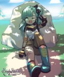 1girl angelica_(k3lly) aqua_hair arm_at_side arm_up artist_name bandaid bandaid_on_face bandaid_on_leg bangs belt black_bow black_gloves blue_footwear blush boots bow breasts brown_pants bulma cloud dappled_sunlight day dirt dragon_ball full_body gloves goggles goggles_around_neck grass hair_bow highres long_hair on_ground one_eye_closed open_mouth outdoors pants parted_lips shirt sitting small_breasts solo sunlight v white_shirt