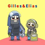 2boys :3 armor balaclava bulletproof_vest ei_ei_okotta? elias_kotz english_text german_flag german_text gilles_toure gun handgun height_difference highres holding holding_gun holding_weapon multiple_boys pipimi pistol poptepipic popuko rainbow_six rainbow_six_siege riot_shield shadow swat title_parody tom_clancy translated ubisoft visor_(armor) weapon what ymltzj_(byt)