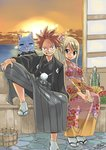 1boy 1girl blonde_hair commentary_request fairy_tail flower hand_tattoo haori happy_(fairy_tail) japanese_clothes kimono looking_at_viewer lucy_heartfilia mashima_hiro natsu_dragneel pink_hair sandals sitting smile socks spiked_hair sun sunset