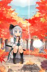 1girl :o autumn black_hairband black_legwear black_ribbon bloomers blue_eyes blue_sky blush brown_footwear campfire commentary_request day eating eyebrows_visible_through_hair fire food forest full_body green_skirt green_vest hair_ribbon hairband hitodama holding holding_food juliet_sleeves kneehighs knees_up konpaku_youmu loafers long_sleeves nature open_mouth outdoors petticoat puffy_sleeves ribbon scabbard sheath sheathed shin_(new) shirt shoes short_hair silver_hair sitting skirt sky solo sweet_potato sword touhou tree underwear vest weapon white_bloomers white_shirt