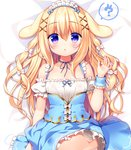 1girl :o ? animal_ears bangs bed_sheet blonde_hair blue_ribbon blue_skirt blush bow bunny bunny_ears collarbone commentary_request detached_sleeves eyebrows_visible_through_hair frilled_skirt frills hair_between_eyes hair_bow hair_ornament hand_up long_hair lying maid maid_headdress neck_ribbon on_back original panties parted_lips puffy_short_sleeves puffy_sleeves purple_eyes ribbon sasai_saji short_sleeves sidelocks skirt skirt_lift sleeveless solo spoken_question_mark underwear very_long_hair white_bow white_panties white_sleeves wrist_cuffs x_hair_ornament
