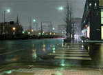 bare_tree building cityscape commentary_request crosswalk highres lamppost night no_humans original outdoors rain road scenery sidewalk sign street tomiya_(tomiya2117) tree wet window
