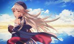 1girl azur_lane bangs beret blue_dress blue_hat blue_jacket blue_sky blush brown_eyes closed_mouth cloud cloudy_sky commentary_request dated day dress eyebrows_visible_through_hair gloves hat headpiece horizon jacket light_brown_hair long_hair long_sleeves looking_at_viewer looking_back mole mole_under_eye ocean off_shoulder open_clothes open_jacket outdoors puffy_long_sleeves puffy_sleeves reflection ronica signature sky sleeveless sleeveless_dress solo very_long_hair water white_gloves z46_(azur_lane)