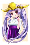 1girl bangs brown_background double_v grin hakama hands_up headpiece highres japanese_clothes kimono long_hair long_sleeves pikomarie purple_hair purple_hakama puzzle_&_dragons red_eyes smile solo twintails two-tone_background v v-shaped_eyebrows very_long_hair white_background white_kimono wide_sleeves yomi_(p&d)