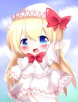 1girl arm_up blonde_hair blue_eyes blue_sky blush bow bowtie capelet chibi cloud commentary day eyebrows_visible_through_hair feet_out_of_frame hair_between_eyes hat hat_bow highres lily_white long_hair long_sleeves looking_at_viewer open_mouth outdoors petticoat red_neckwear shirt skirt sky solo touhou very_long_hair white_headwear white_shirt white_skirt yairenko