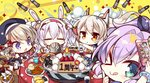 4girls :p =_= >_o animal_ears ayanami_(azur_lane) azur_lane beret blush box cake cellphone chibi commentary_request fake_animal_ears food gift gift_box hat javelin_(azur_lane) komowata_haruka laffey_(azur_lane) multiple_girls one_eye_closed orange_eyes phone purple_eyes purple_hair self_shot silver_hair smoke soft_drink tempura tongue tongue_out z23_(azur_lane)