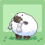 braid commentary_request full_body gen_8_pokemon grass green_background kumamoto_(bbtonhk2) looking_up lowres no_humans pixel_art pokemon pokemon_(creature) sheep sparkle twin_braids wooloo